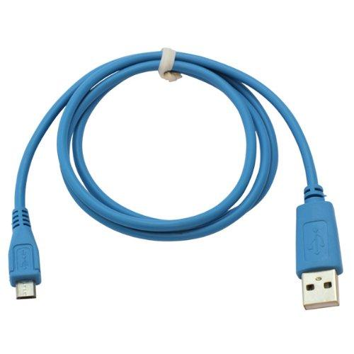 Handycop® Micro USB Datenkabel Babyblau für Samsung S7580 Galaxy Trend Plus GT / S8000 Jet / S8300 Ultra TOUCH / S8500 Wave / S8530 Wave II / S8600 Wave 3 / Vodafone 360 H1 / Vodafone 360 M1