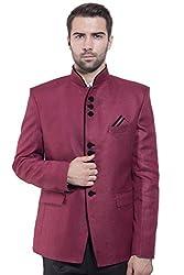 Wintage Mens Rayon Cotton Bandhgala Festive Maroon Nehru Mandarin Blazer