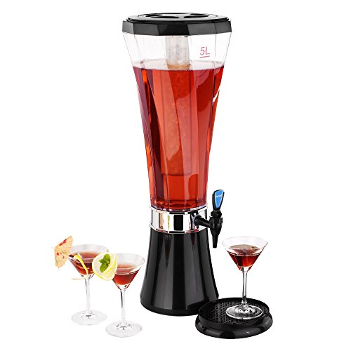 VonShef 5 Liter (170 fl oz) Easy Pour Party Tabletop Beer/Drinks Beverage Dispenser with Ice Core (Alcohol Beverage Dispenser compare prices)