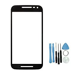 Moto G3 Front Glass Lens, Universal Buying Grade A+ Repair Front Fitted LCD Replacement Outer Glass Lens Touch Screen Digitizer Protective Cover + Free Tools / Black