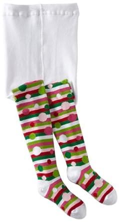 Tic Tac Toe Little Girls'  Polka Stripe Tight Socks, White, 2-4 Years