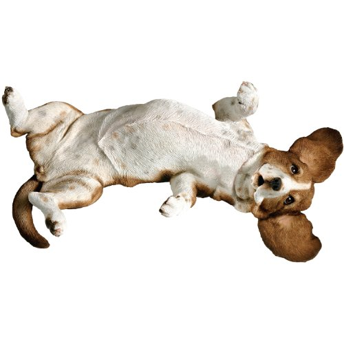 Sandicast Mid Size Basset Hound Sculpture, Lying Back