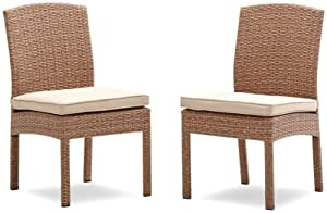 Strathwood Griffen All-Weather Wicker Dining Armless Chair, Natural, Set of 2 (Discontinued by Manufacturer)