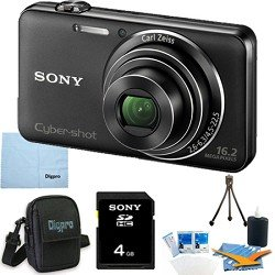 Sony Cyber-shot DSC-WX50 DSCWX50 WX50 16.2 MP Digital Camera with 5x Optical Zoom and 2.7-inch LCD (Black) with Sony 4GB Card, Digpro Case, Mini Tripod, LCD Screen Protectors, Lens Cleaner + More