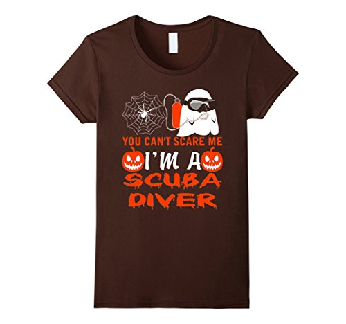 [Women's Halloween You Can't Scare Me I am a Scuba Diver T-Shirt Large Brown] (Scuba Diver Halloween Costume Women)