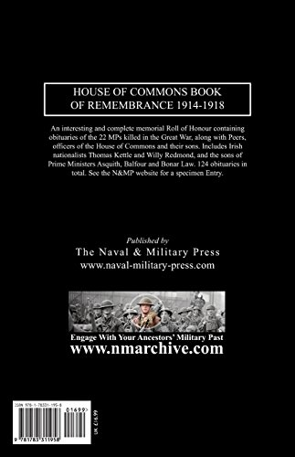 THE HOUSE OF COMMONS BOOK OF REMEMBRANCE 1914-1918
