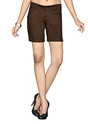 Dragaon Women's Cotton stretchable Shorts-Brown-D-153-size-36(XX-Large)