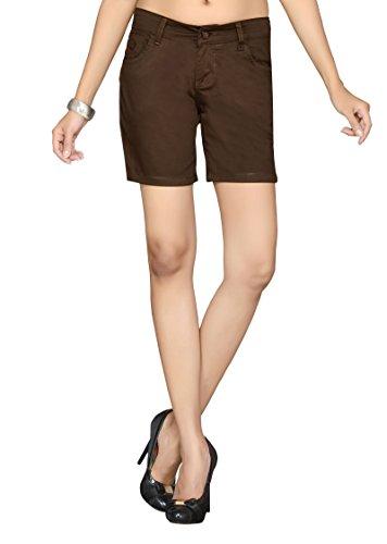 Dragaon Women's Cotton stretchable Shorts-Brown-D-153-size-36(XX-Large)