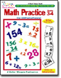 Math Practice Grades 3-4 Activity Book with 96 Flash Cards by Kelley Wingate - 1