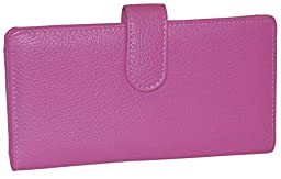 Buxton Leather Tab Checkbook Cover & Credit Card Holder Bill Wallet & Zippered Coin Pouch (Coral Pink)