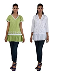 Anpassa Women's Cotton Olive Green And White Kurti Combo Set