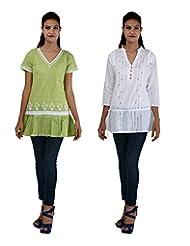 Anpassa Women's Cotton Olive Green And White Kurti Combo Set
