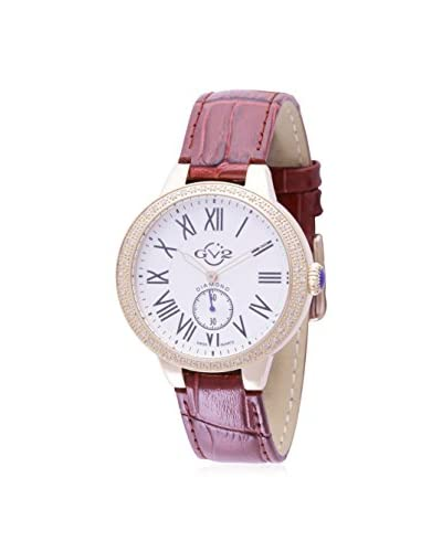 GV2 Women's 9104 Astor Burgundy/White Leather Calfskin Watch