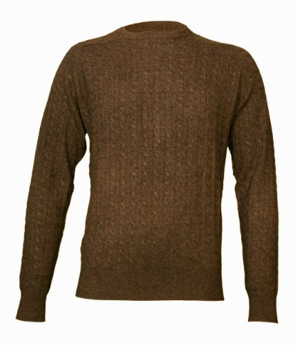 Noluur Cashmere Mens Cable Stitch Crew Neck Jumper in Sable Brown Size XXL