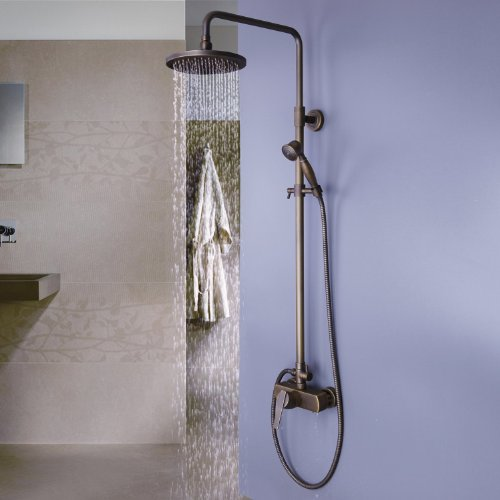 Bathroom Luxury Dual Handles With Hand Shower Mixer Tap Wall-Mounted Rainfall Shower Faucet United .Antique Brass S0471 front-580032