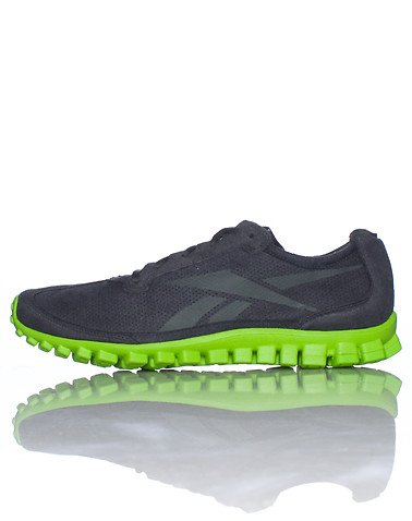 Reebok Reebok Mens RealFlex Run Syn Suede/Gravel/Acidic Green Synthetic-And-Mesh Running 10.5