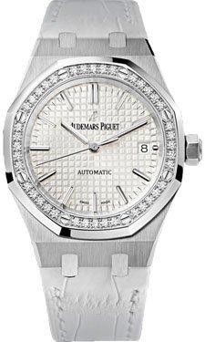 Audemars Piguet Royal Oak Automatic Diamond Silver Dial White Leather Ladies Watch 15451ST.ZZ.D011CR.01