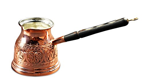 MisterCopper 2017 NEW Premier Engraved Copper Turkish Greek Coffee Pot Coffee Maker With Wooden Handle 15oz (Inline Coffee Maker compare prices)