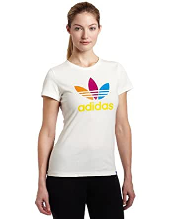 adidas Women's Grun Logo Tee (Runnwhite, Orancount, Small)