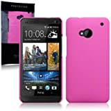 HTC One (M7) Hybrid Rubberised Back Cover Case / Shell / Shield - Solid Hot Pinkby TERRAPIN