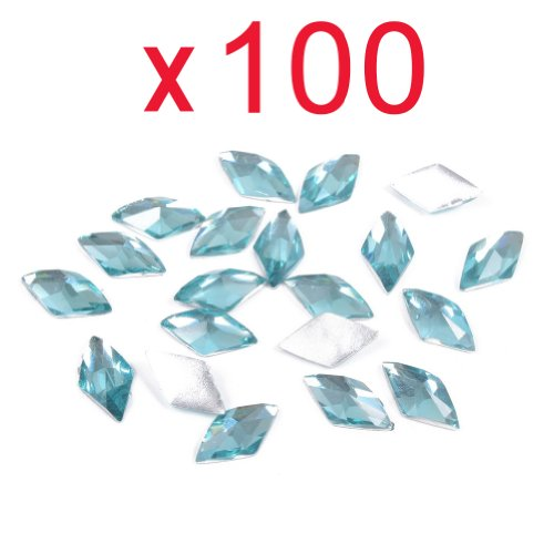 So Beauty 100pcs Rhombus Flat Back Rhinestones Flatback acrylic Gems for Nail Art–Light Blue