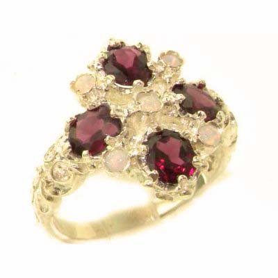 Luxury Ladies Victorian Style Solid Hallmarked 14K Yellow Gold Natural Rhodolite Garnet & Fiery Opal Ring - Size 9.75 - Finger Sizes 5 to 12 Available - Perfect Gift for Birthday, Christmas, Valentines Day, Mothers Day, Mom, Mother, Grandmother, Daughter, Graduation, Bridesmaid.