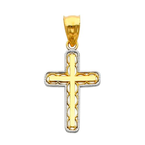 14K Yellow and White Gold 2 Two Tone Gold Religious Cross Charm Pendant