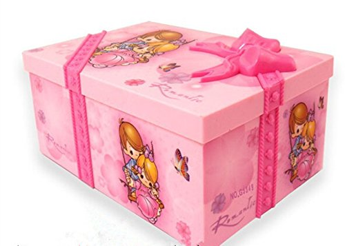 Fding Children Gift Pink Beautiful Ballet Dance Music Jewelry Box & Make up Box Photo Frame with Mirror