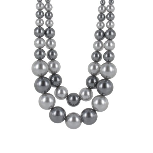 Grey Tonal Simulated Pearl Double Row Frontal Necklace, 18+2