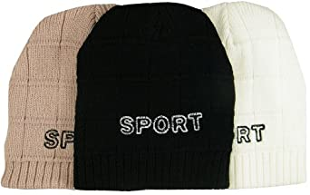 Mens Beanie Hats Sports Logo Winter Warm Pack of 3 Hats