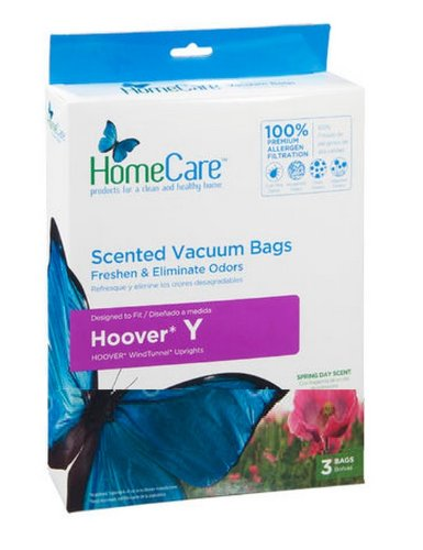 Home Care Scented Hoover Type Y Premium American Made Odor Eliminating Vacuum Bags, Fits Hoover Ah10040, 4010100Y. 3Pk