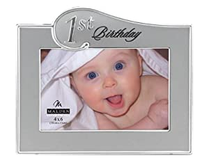 Malden 1st Birthday Two Tone Picture Frame, Sliver