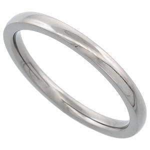Titanium 2mm Domed Wedding Band Thumb Ring Polished finish Comfort-fit, size 9
