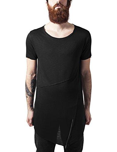 Urban Classics Long Open Edge Front Zip Tee, T-Shirt Uomo, Nero (Black 7), Large