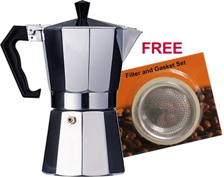 Aluminum Cuban Style Coffee Maker 9 cup, plus a spare gasket and filter set