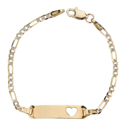 14k Yellow Gold White Pave Figaro Heart Baby ID Bracelet, 5
