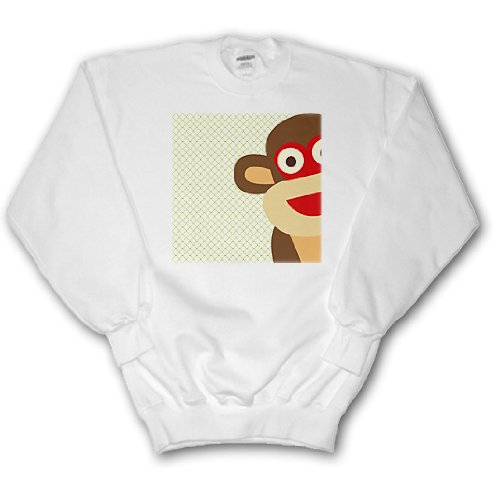PS Fun Art - Sock Monkey Peeking Around Corner - Cute Animal Art - Sweatshirts