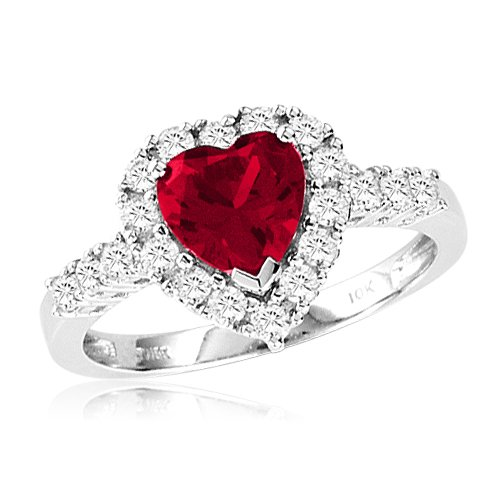 10k White Gold Heart-Shaped Created Ruby & Round Created White Sapphire Heart Ring