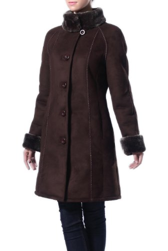 BGSD Women's Faux Shearling Raglan Sleeve Walking Coat - Black L
