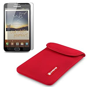 SAMSUNG GALAXY NOTE RED NEOPRENE POUCH / CASE / COVER / SKIN BY SHOCKSOCK + SCREEN PROTECTOR