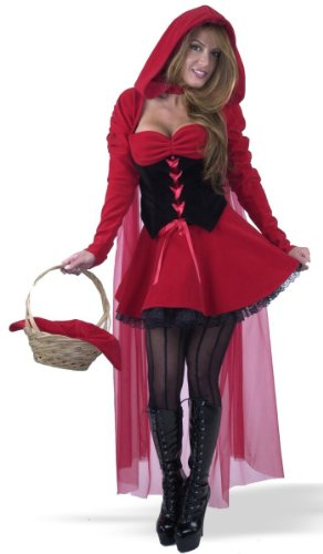 Women X-Large (14-16) - Velvet Red Riding Hood Costume. Boots, Basket and Stockings not included