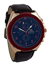 Addic EWWE Dark Blue Color Dial With Red Circular Bezel And Black Leather Strap Watch For Men (29)