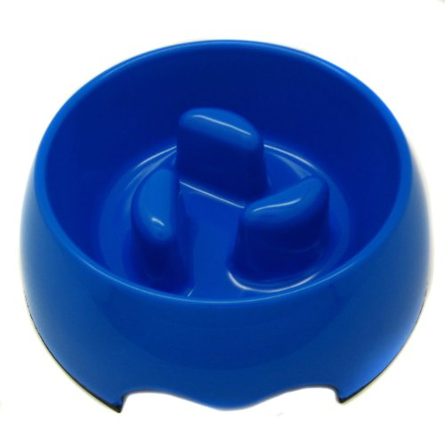 Healthy Diet Vea Slow-Eating Anti-Gulping Pet Food Bowl (for Dogs & Cats) – Color: Blue, Size: Small