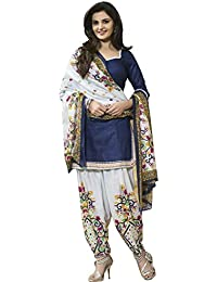 Jay Varudi Creation Women's Blue & White Printed Punjabi Cottan Dress Materials