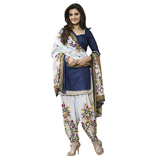 Jay Varudi Creation Women's Blue & White Printed Punjabi Cottan Dress Materials