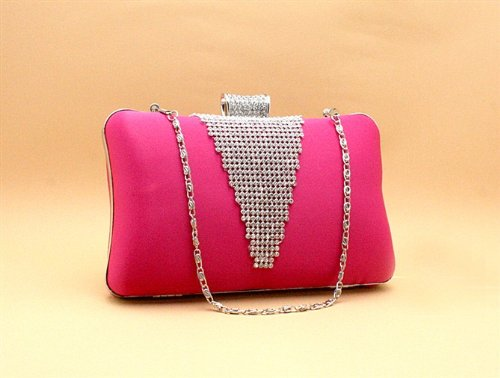NWT Best Seller Bridal Accessories Satin Handbag with Rhinestone Evening Purse Mini Bag Wedding Clutch Holiday Birthday Gift Sil0070-hot Pink