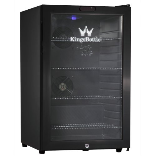 Kingsbottle 66 Can Bar Fridge With Glass Door, Mini, Black