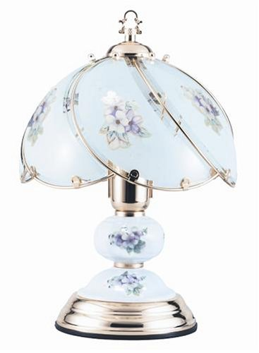 Pink Floral Polished Brass Touch Table Lamp -L623C