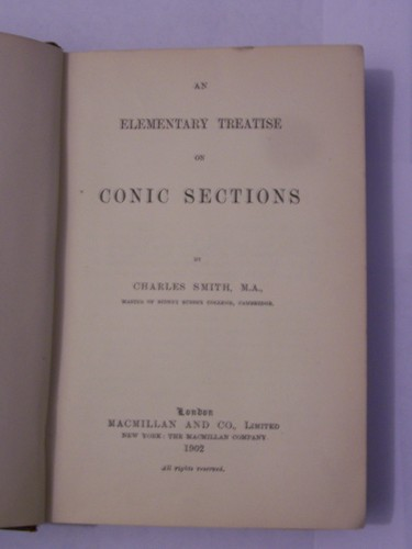 Large book cover: An Elementary Treatise on Conic Sections