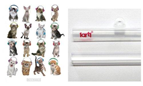"Poster + Hanger: Cats Mini Poster (20X16 "") Kitten With Headphones, Keith Kimberlin And 1 Set Of 1Art1® Poster Hangers"